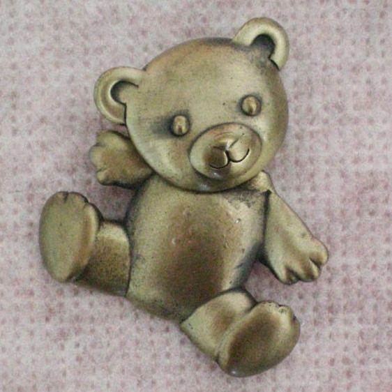 Movable Teddy Bear Pin Signed JJ / Jonette Jewelry