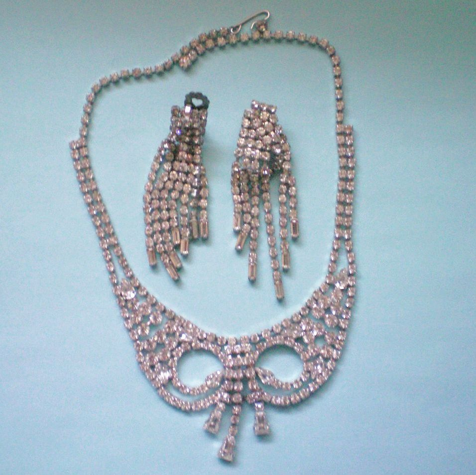 Rhinestone Demi ~ West Germany with Dangle Earrings