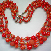 Three Strand Red / Orange Bead Necklace