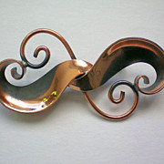 Artisan Modernist Copper Free Form Pin