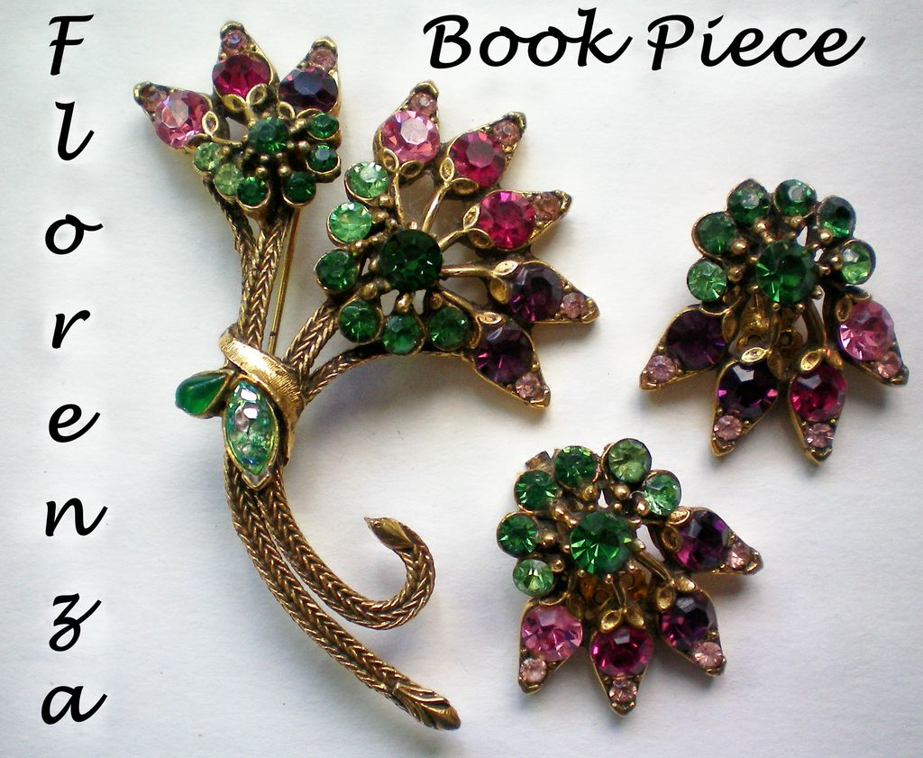 Signed Florenza  Brooch & Earrings - Book Piece
