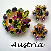 Austrian Crystal Lights Rhinestone Brooch and Clip Earrings