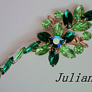 Juliana Brooch in Shades of Green Rhinestones