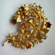 Gold Tone Leaf Pin with Amber Rhinestones