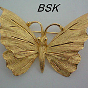 BSK Gold tone Butterfly Pin