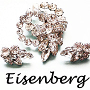 Eisenberg Diamante  Brooch & matching Earrings