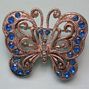 Filigree Silver tone Butterfly Pin
