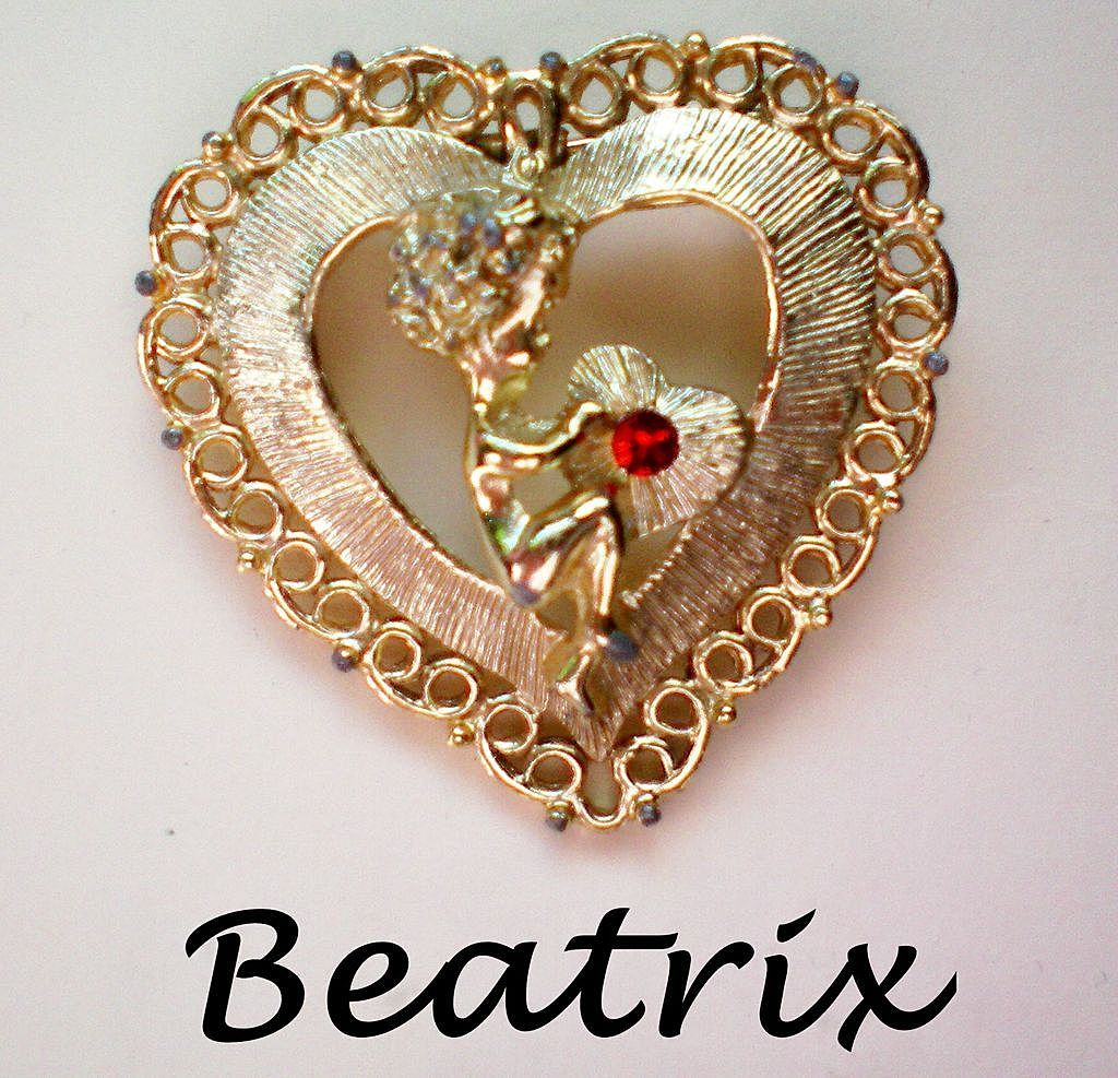 Cupid & Valentine Heart Pin by Beatrix