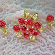 Metal & Enamel Bouquet of Roses Brooch &  Earrings