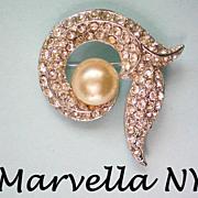 Marvella NY 1960's Faux Pearl / Rhinestone Brooch