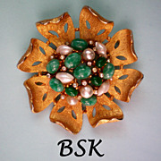 Signed BSK Faux Pearl, Jade & Diamante Brooch