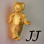 Signed Teddy Bear Tie Tack Pin by JJ