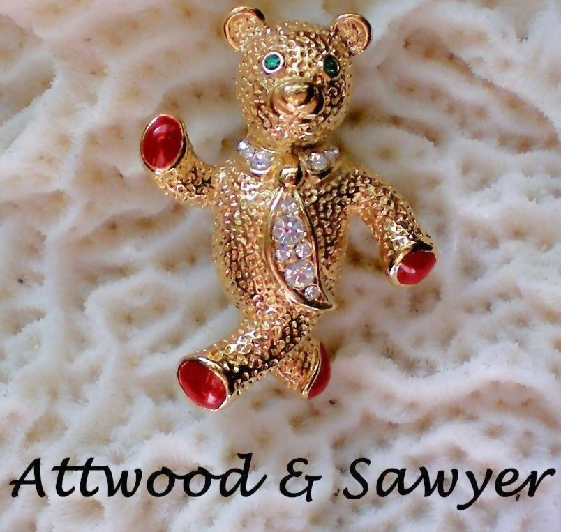 Attwood & Sawyer Enamel and Rhinestone Teddy Bear Pin