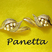Signed Panetta Clip Earrings