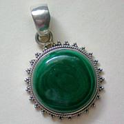 Malachite & Sterling Silver Pendant
