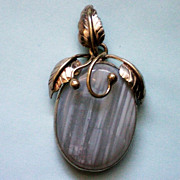Blue Agate Wire Wrapped Stone with Brass Pendant