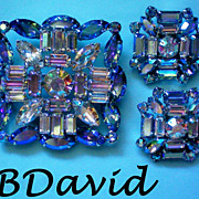 Signed B David Aurora Borealis Brooch & Clip Earrings