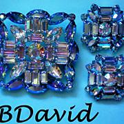 Signed B David Aurora Borealis Brooch & Clip Earrings