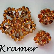 Signed Kramer Amber colored Rhinestone Demi