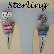 Sterling Silver Earrings Marked Taxco Mexico