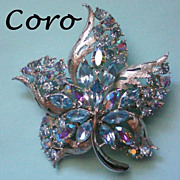 Multi-Layered Signed Coro Leaf Brooch