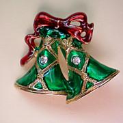 Christmas Holiday Enameled Bells Pin