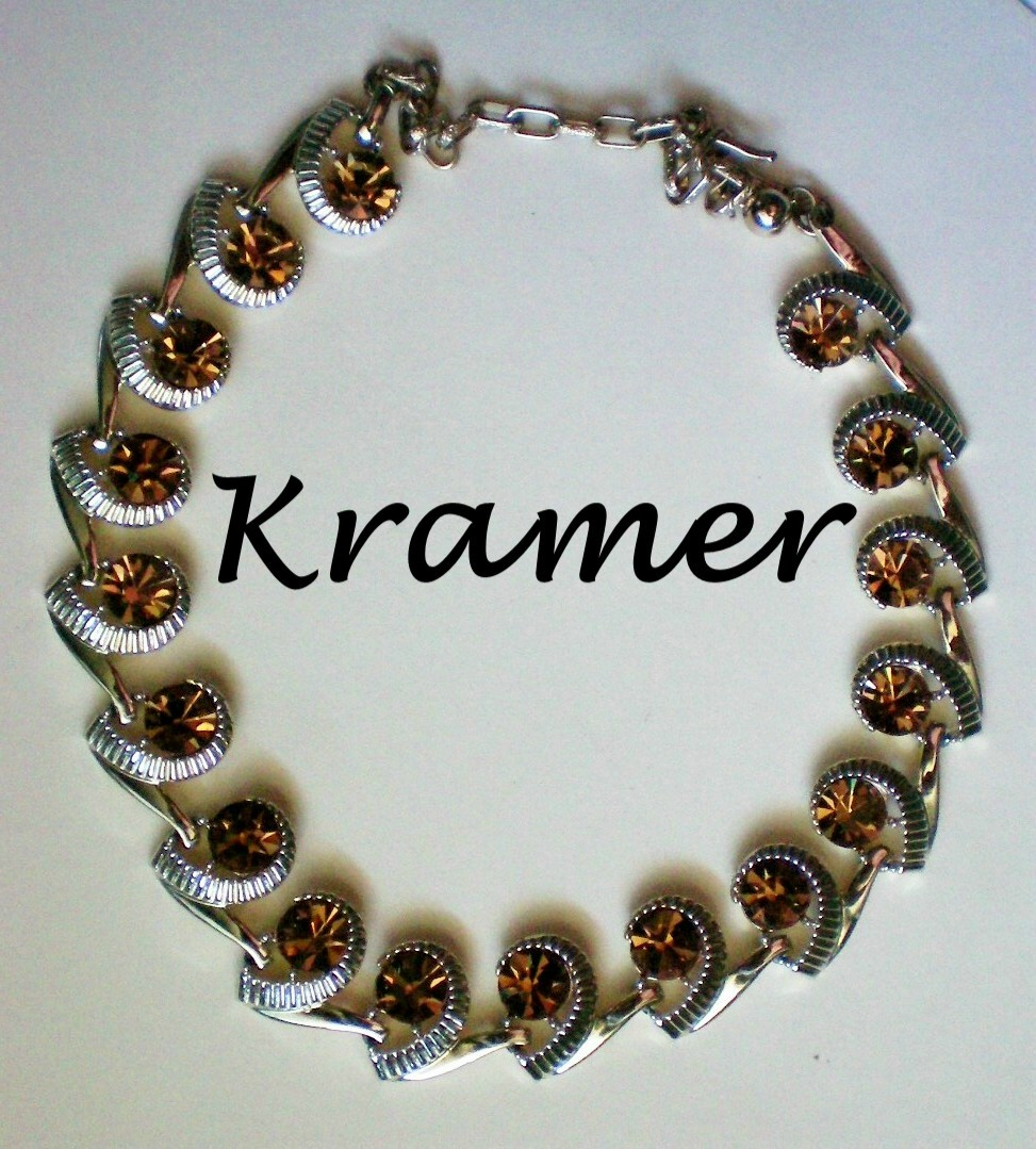 Signed Kramer Amber Rhinestone Choker Necklace