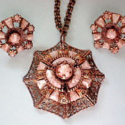 Art Glass Copper Pendant & Screw Back Earrings