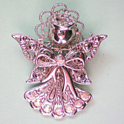 Silver tone Christmas Angel with AB Stone Accents