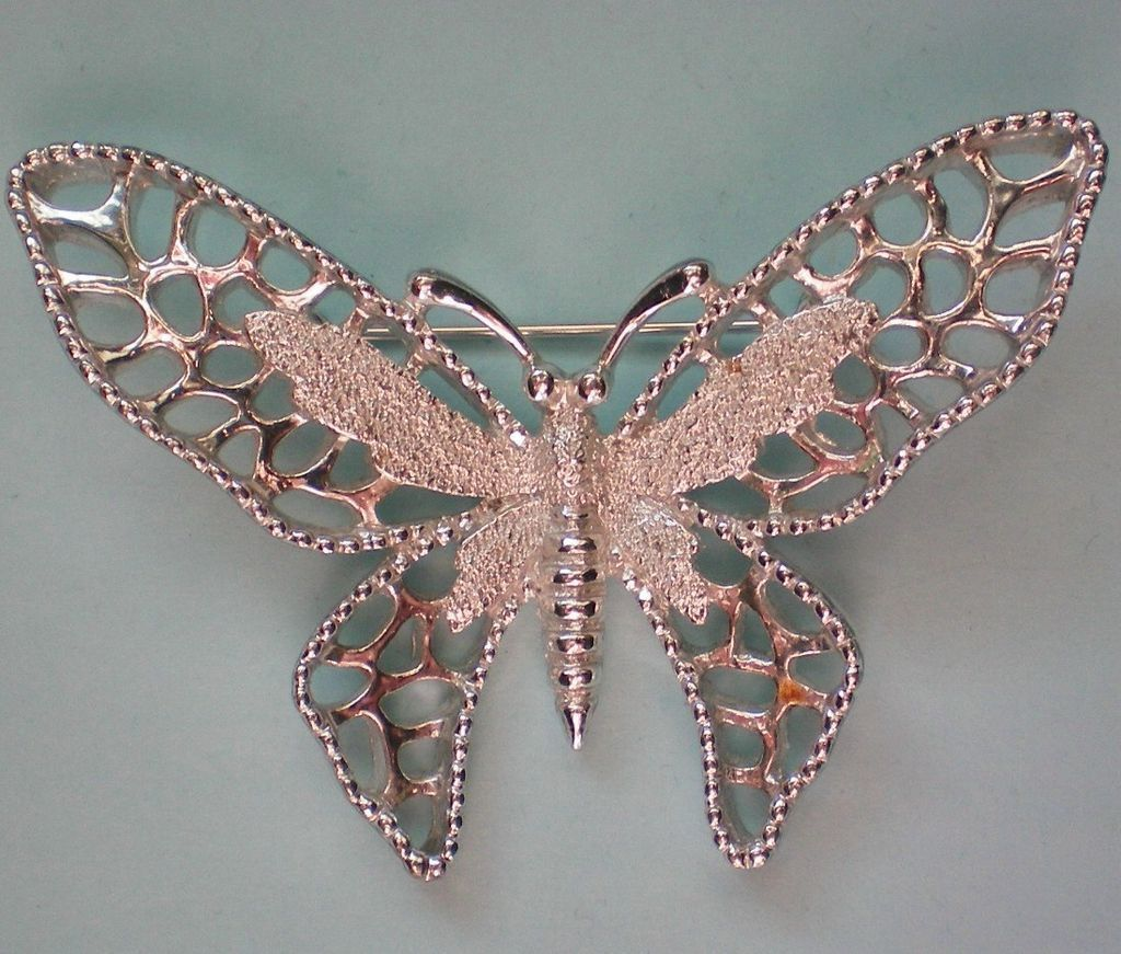 Sarah Coventry Silver tone Madam Butterfly Pin