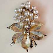Trifari Crown Rhinestone & Pearl Bouquet Brooch