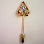 Heart Shaped Stick Pin with Faux Pearls & Rhinestones