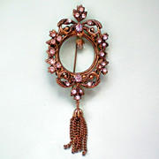 Eloquent Edwardian Style Dangle Brooch with interior Charm Bead