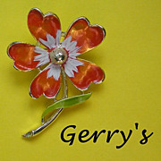 Rare Signed Gerry's Enamel Floral Pin