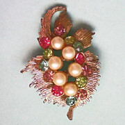 Signed BSK Fruit Salad Pin with Faux Pearls