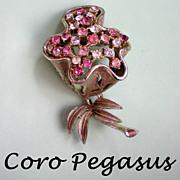 Coro Pegasus Adolph Katz Trembler Rhinestone Flower Pin