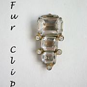 Emerald Cut Crystal & Rhinestone Fur Dress Clip