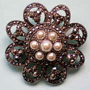 Marcasite Flower Pin with faux Pearls