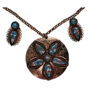 Copper Art Glass Pendant Necklace & Earrings