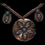 Copper Art Glass Pendant Necklace & Earrings