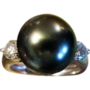 Black Pearl & Diamond Ring, Heirloom