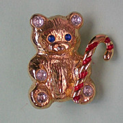 Christmas / Holiday Teddy Bear with Candy Cane Pin