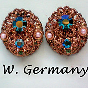 Western Germany Filigree Clip Earrings