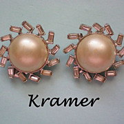 Signed Kramer Faux Pearl Rhinestone Clip Earrings