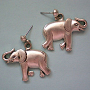 Lucky Elephant Silver Tone Earrings