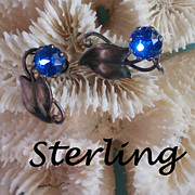 Sterling Silver Blue Stone Earrings