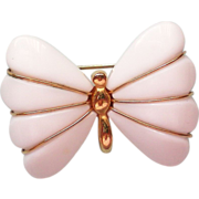 Trifari Lucite White Butterfly Pin