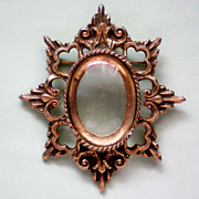 Picture Frame Brooch with Magnifying Lens