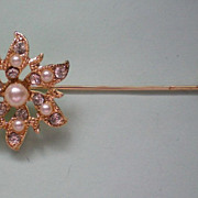 Snowflake Stick Pin with faux Pearls & Rhinestones
