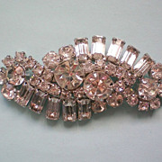 Large Round and Baguette Crystal Brooch
